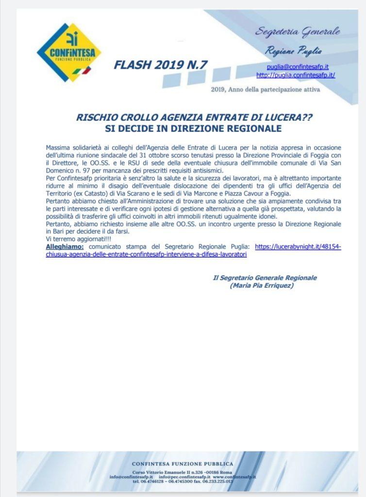 FLASH 2019 N.7            RISCHIO CROLLO AGENZIA ENTRATE DI LUCERA???        SI DECIDE IN DIREZIONE REGIONALE.