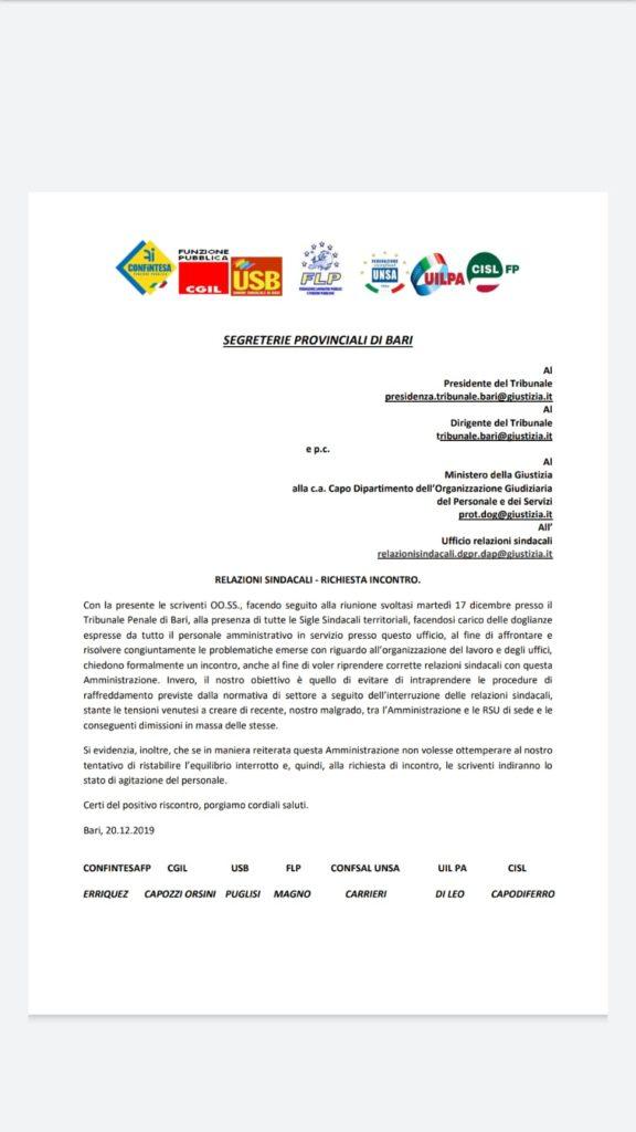 RELAZIONI SINDACALI – RICHIESTA UNITARIA INCONTRO AL TRIBUNALE DI BARI.
