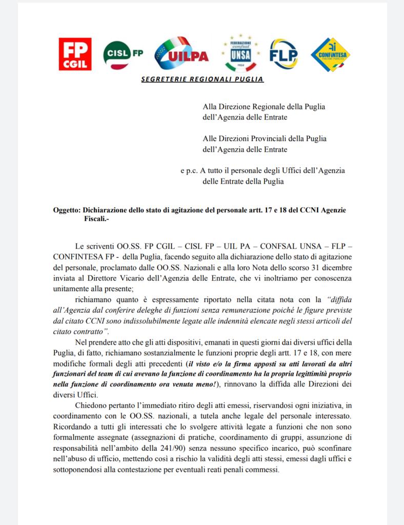 STATO DI AGITAZIONE DEL PERSONALE DELL'AGENZIA DELLE ENTRATE