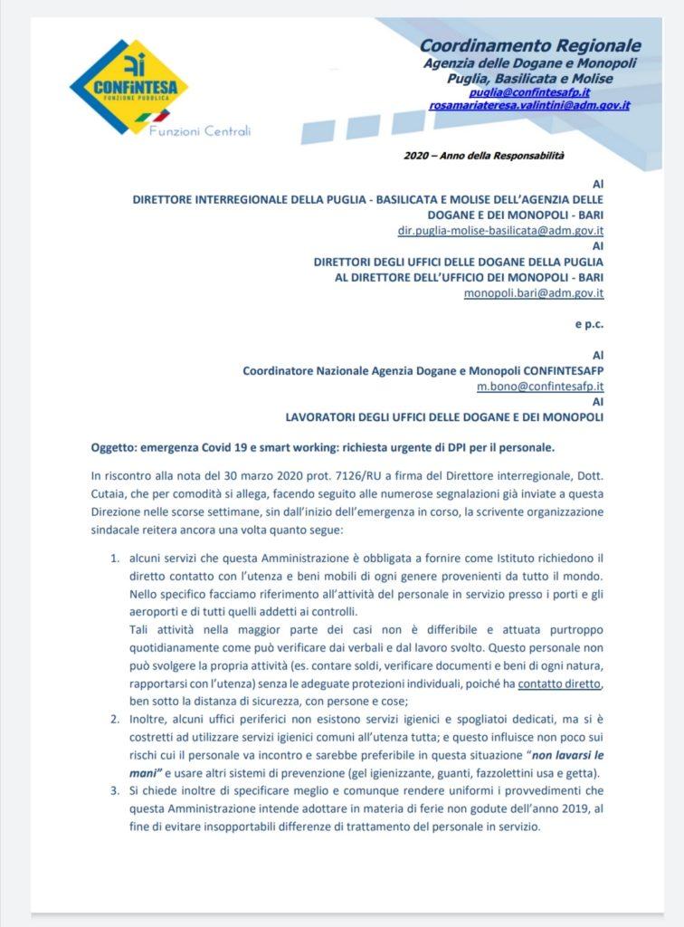 PUGLIA: Mancanza di DPI. CONFINTESAFP scrive ancora una volta alla Direzione Interregionale Dogane e Monopoli